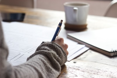 受け答えをノートに書く